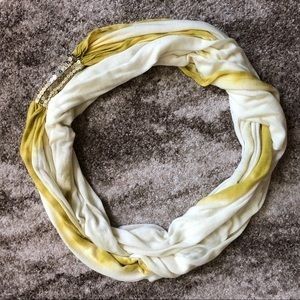 Green and White Print Infinity Scarf w/ Sequins